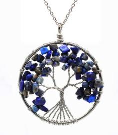 Levensboom hanger Lapis Lazuli met ketting