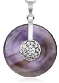 Amethyst donut - 30mm - met Flower of life hanger