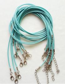 Wax koord 1,5mm Halsketting met slotje - Turquoise