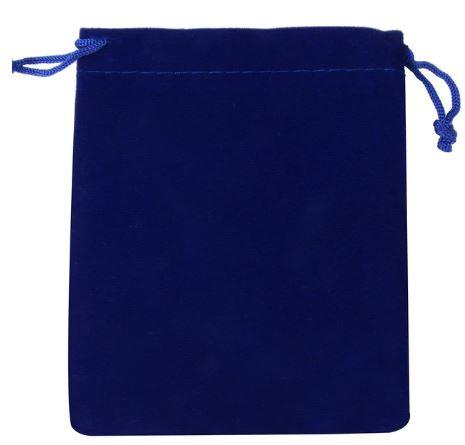 Blauw Donker fluwelen zakje klein