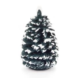 Spaanboompje groen met sneeuw 4 cm (set 2)
