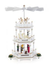Kerstpiramide 3 etages Kerstverhaal wit