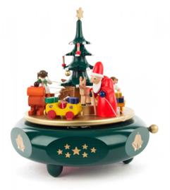 Muziekdoos Kerstavond groen/goud