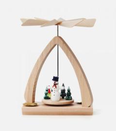 Kerstpiramide met sneeuwman