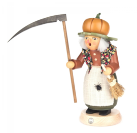 Rookvrouwtje Halloween Heks met pompoen 25cm