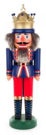 Notenkraker Koning met kroon blauw 43cm
