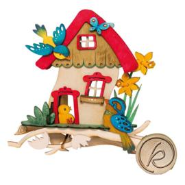 Raambeeld huis met vogeltjes 18cm