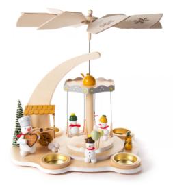 Kerstpiramide met sneeuwman-carrousel