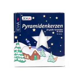 Piramide kaarsen wit 105x17mm (doos 18)