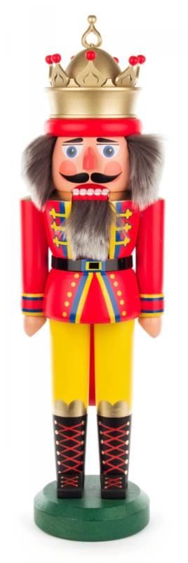 Notenkraker Koning met kroon rood 43cm