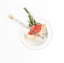 """Message in a bottle """"No excuses: Gin tonic"""""""