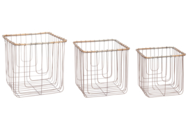"Wire basket ""Wood"" square"
