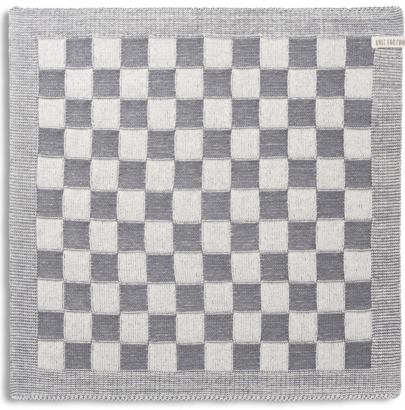 "Kitchen towel ""Block"" off-white/mid-grey"