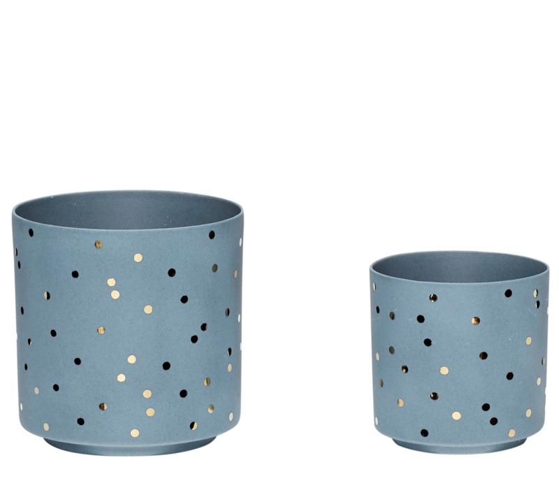 """Waxinelichthouder """"Dots"""" blauw"""
