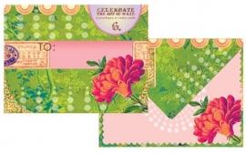 Envelopset Green & pink floral