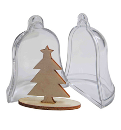 Joy!Crafts transparante klok met dennenboom 2 stuks 6211/0005
