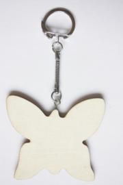 Sleutelhanger hout triplex vlinder 6,5 x 5,5 cm, dikte 3 mm