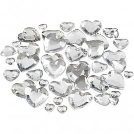 Strasstenen harten zilver 6, 10 en 14 mm 250 stuks