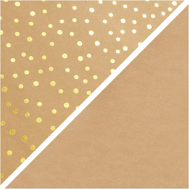 Faux Leather papier lichtbruin met goud print 350g/m2 breed 50 cm 1 meter