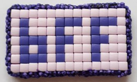 Zelfgemaakte Pixelhobby versiering BFF paars 5 stuks 3,5 x 2,1 cm