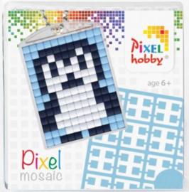 Pixelhobby Pixel mosaic medaillon startset pinguïn sleutelhanger