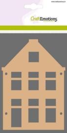 CraftEmotions MDF basisvormen huis 3 stuks 10,5 x 14,8 cm dikte 3 mm