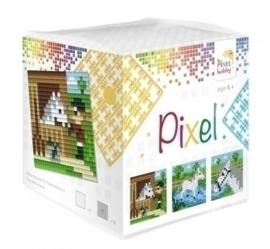 Pixelhobby Pixel mosaic kubussetje paarden 6,2 x 6,2 cm