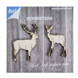 Joy!Crafts woodsters 2 houten hertjes 6320/0010