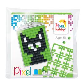 Pixelhobby Pixel mosaic medaillon startset black cat sleutelhanger