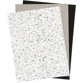 Faux Leather Paper grijs, wit, zwart 3 vellen in verschillende maten