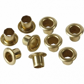 Eyelets goudkleurig metaal 25 stuks buitenmaat 6 mm binnenmaat 4 mm
