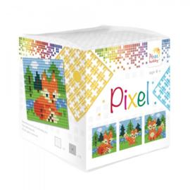 Pixelhobby Pixel mosaic kubussetje vossen 6,2 x 6,2 cm