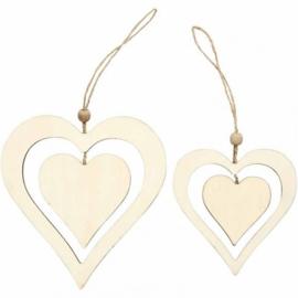 Made of Wood houten dubbele harten 2 assorti hoog 12,5 en 16,5 cm