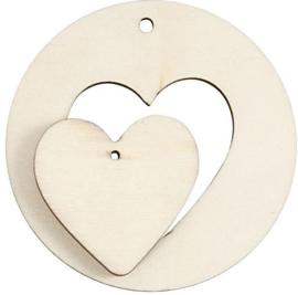 Hangende decoratie hart 2-in-1 licht hout (triplex) Ø 7 cm