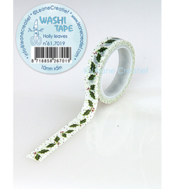 Leane Creatief Washi Tape Holly leaves hulstblaadjes 5 meter 61.7019