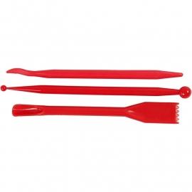 Boetseergereedschap van rood plastic assorti 3 stuks 14,3 cm lang