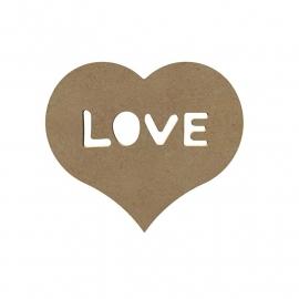 Gomille MDF hart met love 15 x 13,5 cm dikte 5 mm