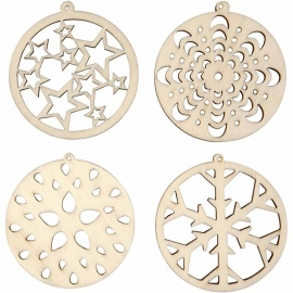Made of Wood ornament van triplex assorti Ø 5 cm 8 stuks dikte 2 mm