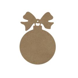 Gomille MDF Kerstbal met strik 10,7 x 15,9 cm dikte 5 mm met ophangoog