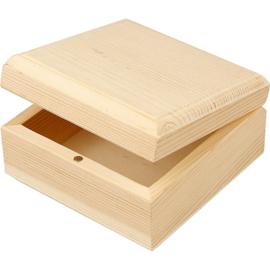 Houten sieradendoosje 9 x 9 x 5 cm binnenmaat 7,5 x 7,5 x 3 cm