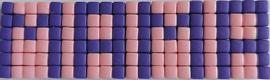 Zelfgemaakte Pixelhobby magneet MAMA paars roze 5,3 x 1,5 cm
