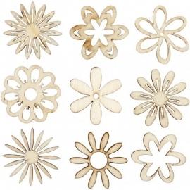 Houten ornamenten bloemen assorti 45 stuks Ø 2,8 cm