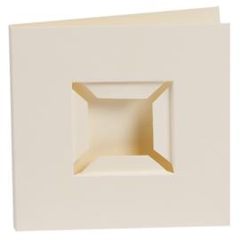Kaarten passe-partout dubbele ril voorkant crème 4 stuks