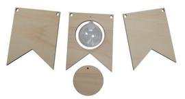 Joy!Crafts 3 vlaggetjes hout en 1 transparante bol Ø 5 cm 6320/0019