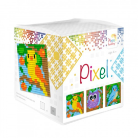 Pixelhobby Pixel mosaic kubussetje vogels 6,2 x 6,2 cm