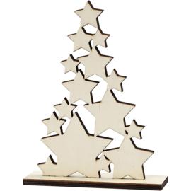 Made of Wood houten Kerstboom van sterren 14,6 x 19,5 cm dikte 0,5 cm