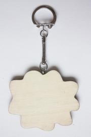 Sleutelhanger hout triplex wolk 6,5 x 5,5 cm, dikte 3 mm