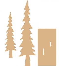 Dutch Doobadoo MDF Tree (bomen) set hoog 20 en 28,5 cm dikte 4 mm 460.440.090