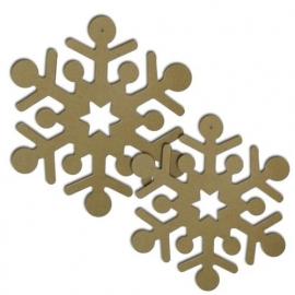 MDF sneeuwvlokken 2 stuks Ø 22 cm, dikte 5 mm