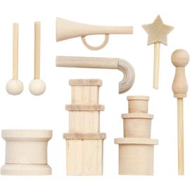 Made of Wood berkenhouten kleine accessoires 9 stuks